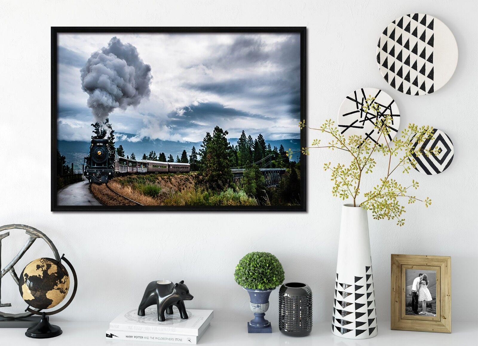 3D Train Smoke Forest 1 Framed Poster Home Decor Print Painting Art AJ WALLPAPER
