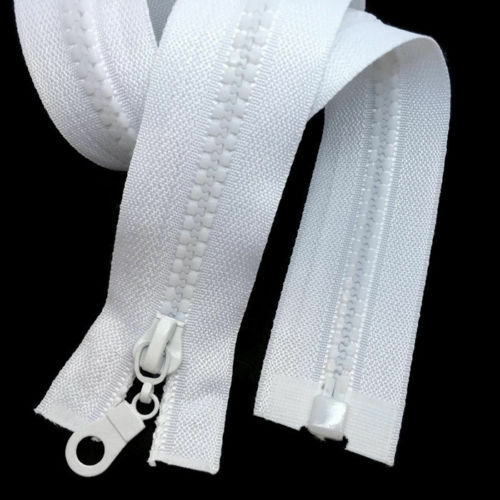 "OPEN END ZIPS WHITE CHUNKY TEETH PLASTIC CHOOSE SIZE 24/""26/""28/""30/""32/""34/""36/"""