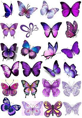 24 Gemischt Lila Schmetterling Sticky Weiß Papier Aufkleber Etiketten