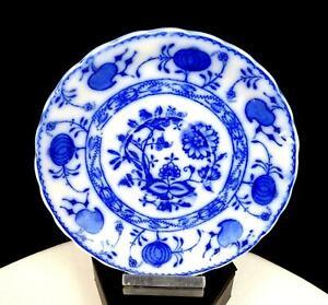 "ALLERTONS ENGLAND PORCELAIN FLOW BLUE ONION PATTERN  5 3/4"" SAUCER 1903-1912"