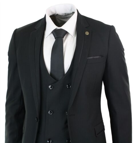 Mens 3 Piece Black Slim Fit Marc Darcy Tuxedo Double Breasted Suit Wedding Prom