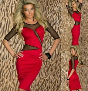 Sz-8-10-Red-Black-Mesh-3-4-Sleeve-Midi-Sexy-Formal-Cocktail-Party-Slim-Fit-Dress
