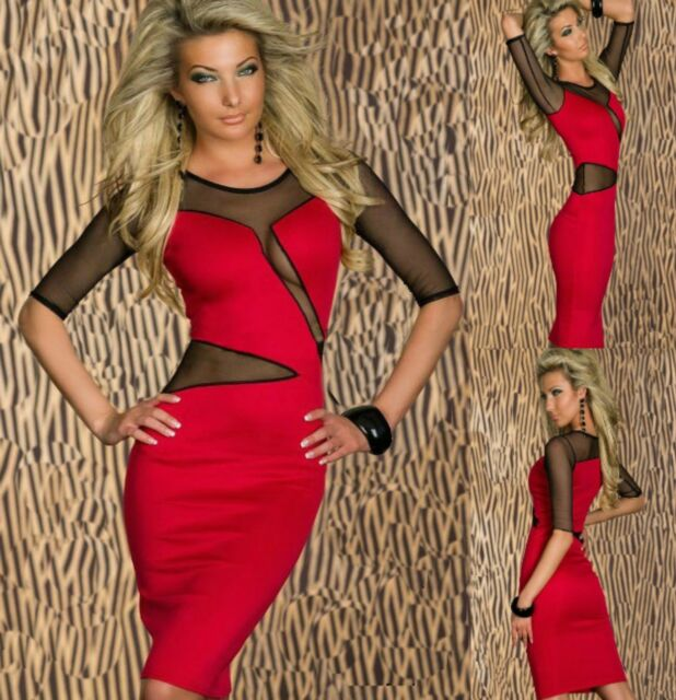 Sz 8 10 Red Black Mesh 3/4 Sleeve Midi Sexy Formal Cocktail Party Slim Fit Dress