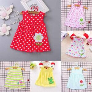 Newborn-Baby-Cotton-Dress-Regular-Sleeveless-A-Line-Girl-Dresses-0-24-Months-LJ
