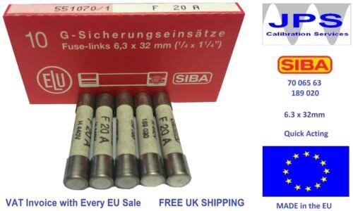 Siba Fusible Rapide Agissant 20 A 70 065 63 F20A 440 V Typ 189020 jpsf 031 A 7006563