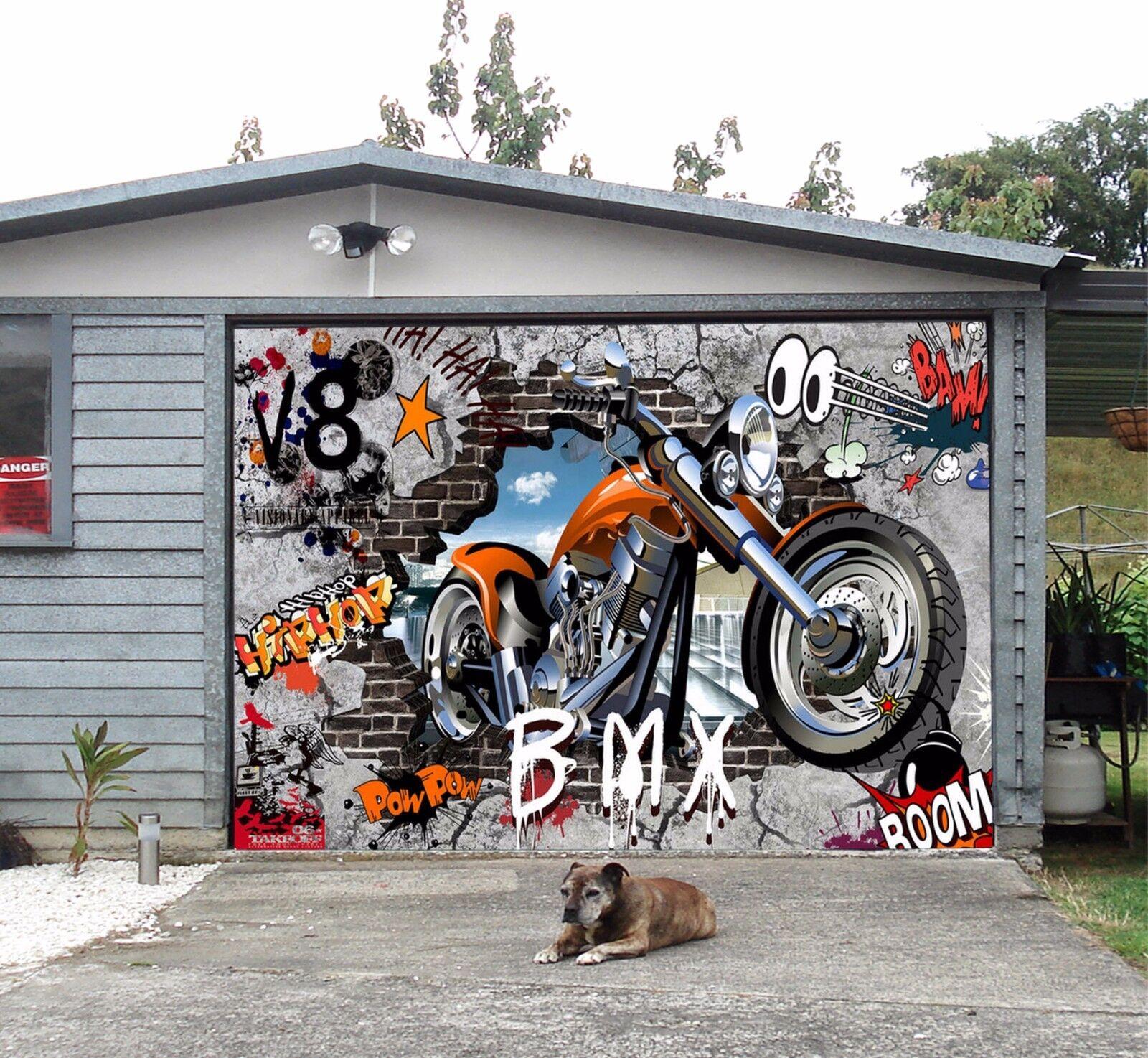 3D Motorcycle Garage Door Murals Wall Print Decal Wall Deco AJ WALLPAPER A
