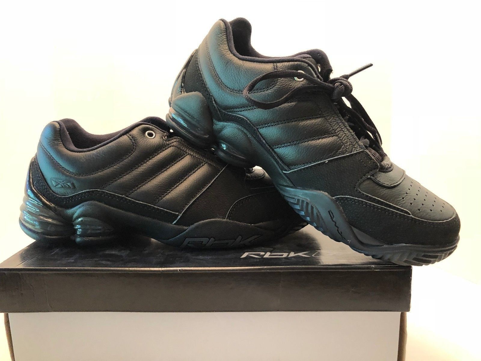 Men's New Reebok Black Leather Low Profile Basketball Shoes with Silver Trim