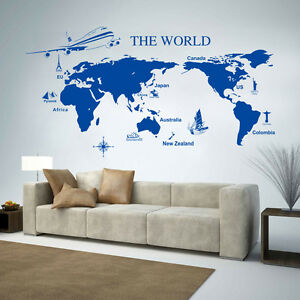 World map wall art quote wall stickers home decals uk sh168 ebay la imagen se est cargando mapa del mundo de arte de pared citar gumiabroncs Images