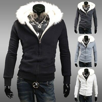 New Men Warm Hooded Coat Slim Fit Jacket Coat Overcoat Long Sleeve Top Winter