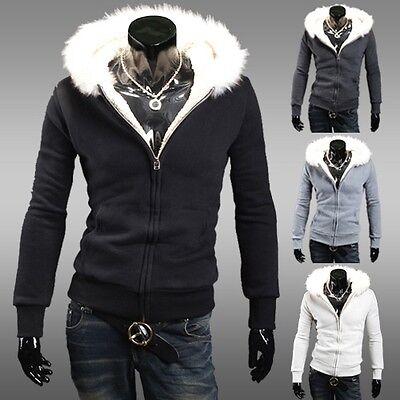 New Men Warm Hooded Coat Slim Fit Jacket Coat Overcoat Long Sleeve Top Winter