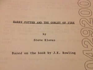 Details about Harry Potter And The Goblet Of Fire Film Script