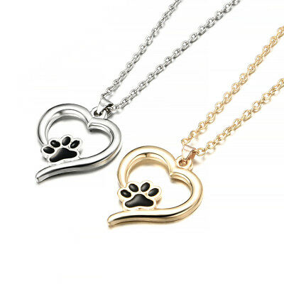 New Silver Pet Lover Necklace Puppy Dog Cat Paw Print Pendant Heart Chain Gift