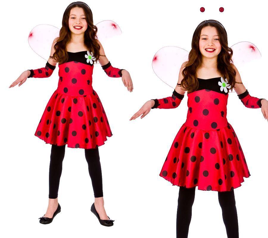 DLX Ladybird fancy dress BNWT All Sizes Girls Ladybug Costume Tutu Boppers Wings