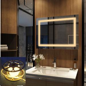 Details zu Badspiegel mit LED Beleuchtung 60x80 Badezimmerspiegel Bad  Spiegel Warmweiß