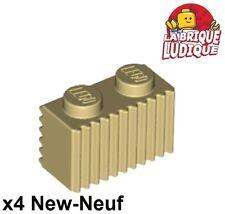 Lego - 4x Brique Brick modified 1x2 Grille Grill beige/tan 2877 NEUF