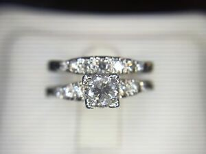 Details about Vintage 1950s 18k White Gold Round Diamond Engagement Ring  Set 3/4 ct
