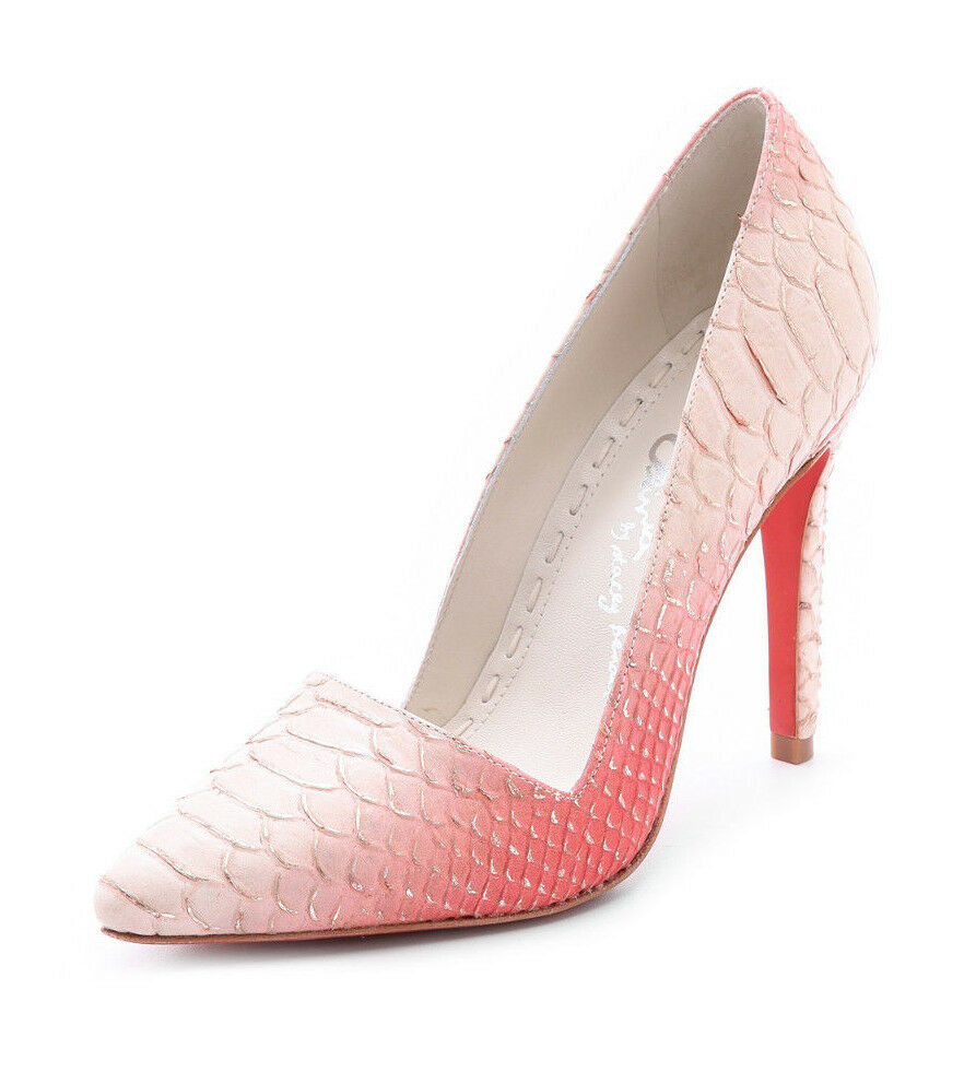 Alice + Olivia Dina Pumps Snake Embossed Leather Metallic Nautral Coral - Size 8