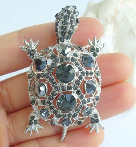 Unique Animal Turtle Brooch Pin Pendant Rhinestone Crystal BP03631