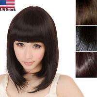 Fashion Average Womens Ladies Short Straight Full Bangs Bobo Hair Cosplay Wig Us