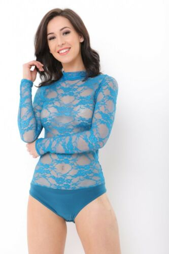 Womens Floral Lace Polo Neck Bodysuit Ladies Long Sleeve Dancewear Leotard