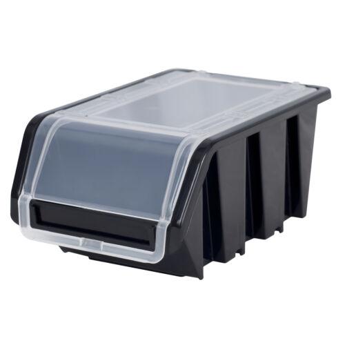 Stapelboxen Wandregal Sichtlagerkästen 8x Wandregal Lagersystem 40 Boxen schwarz