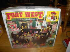 Vintage Tim Mee Toy 77 Piece Plastic Cowboy Fort West Play Set In Box