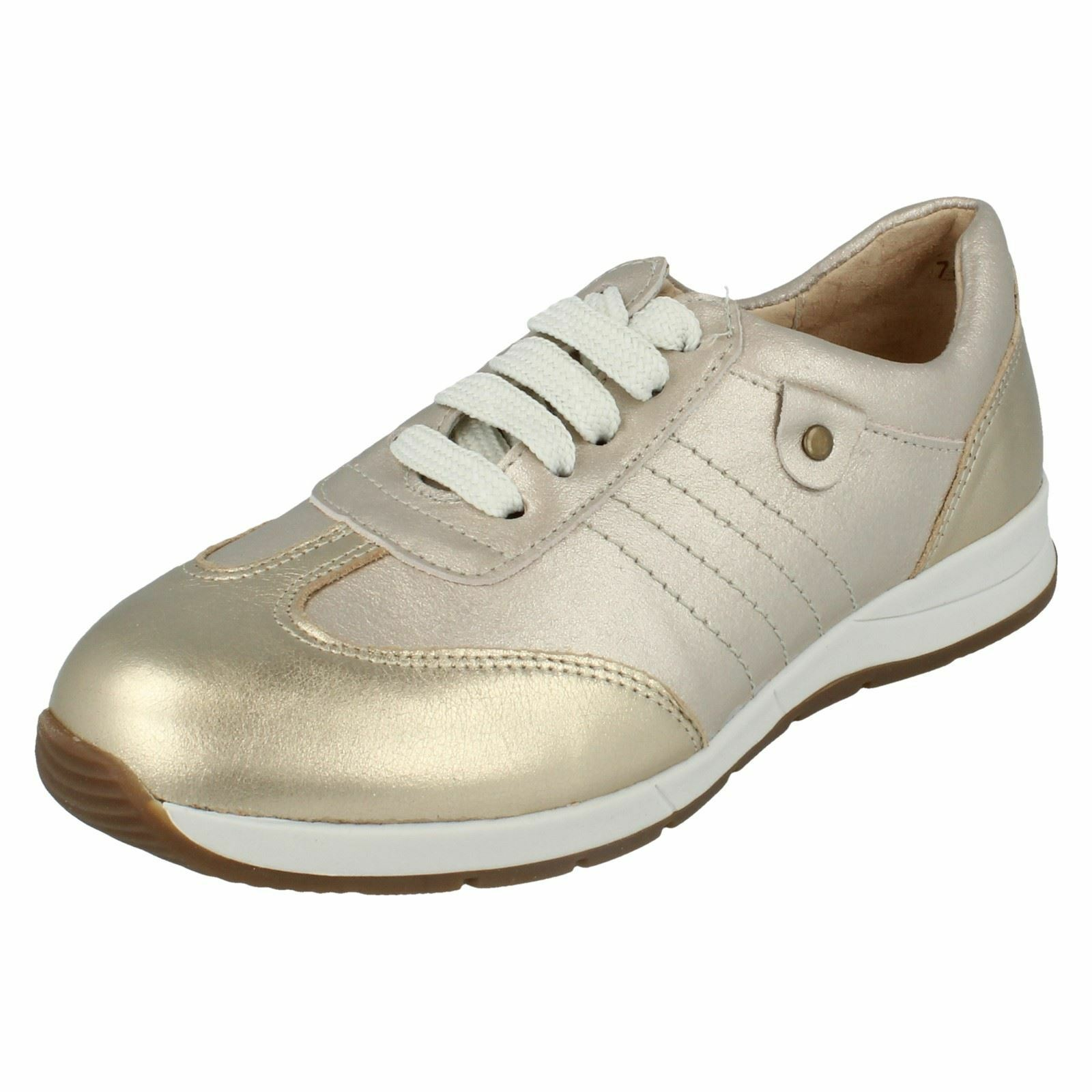 Easy B 79397S Ladies Crystal Metallic Lace Up Leather Trainers 4E Fit (R23B)