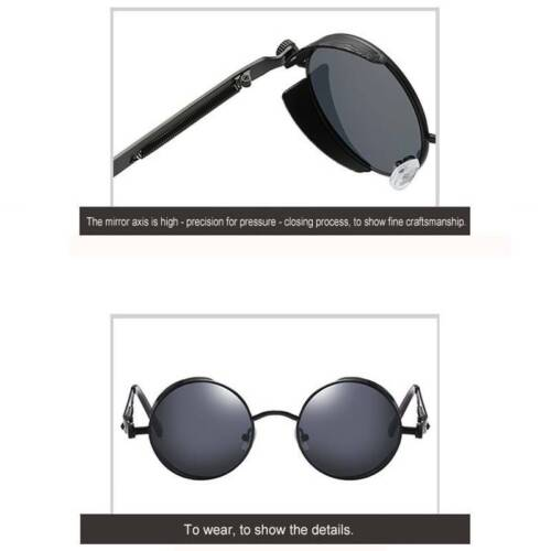 Outdoor Mens Polarized Steampunk Sunglasses Round UV400 Sun Glasses Stylish New