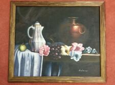 A. Warner Signed Oil on Canvas Painting Still Life 23 x 28 Vase Grapes Flowers