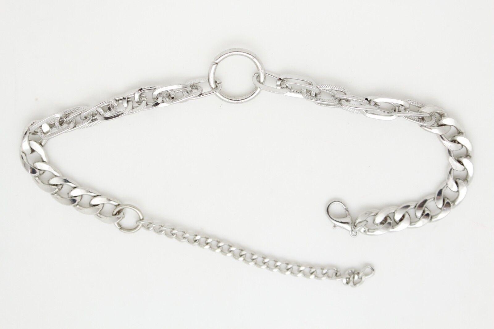 Women Silver Metal Chain Long Link Boot Bracelet Western Shoe Ring Charm Jewelry