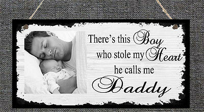 Personalised Photo Plaque New Baby Dad Daddy Stepdad Mum Mummy Gift Present