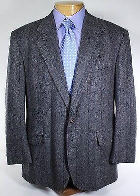 Pendleton Striped Gray Herringbone Tweed Jacket Sport Coat 44R 100% Wool USA