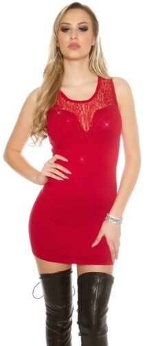 34 36 38 Longpullover Damen Kleid ärmelloses Feinstrick-Minikleid mit Spitze Gr