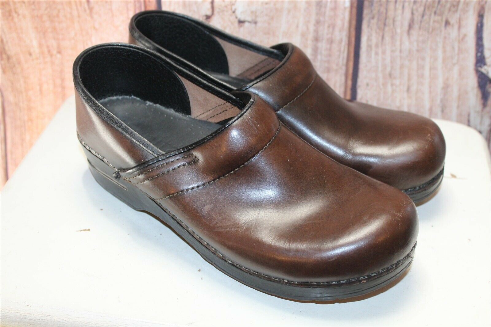 Sanita Brown Leather Stapled Clogs 41 11 Women's shoes