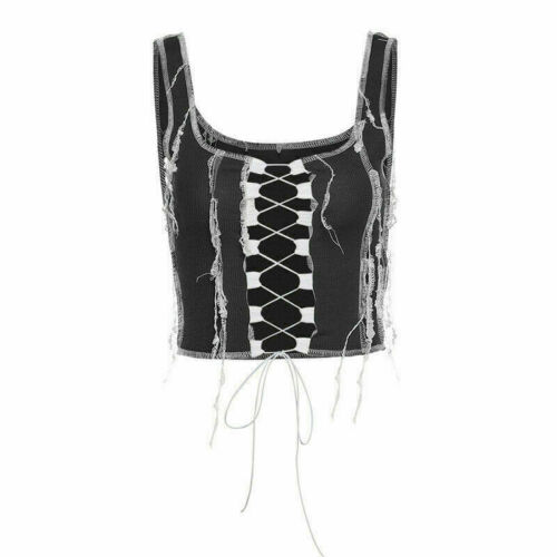 Women Lace Up Sleeveless Tank Top Vest Camisole Long Sleeve Crop Tops Tshirt Lot