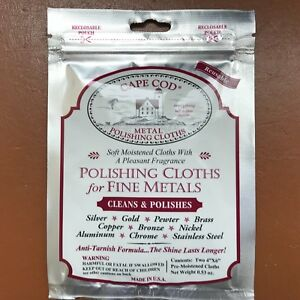 Cape-Cod-Fine-Metal-Polishing-Cloths-Cleans-Polishes-Watches-Jewellery-Pack-of-2