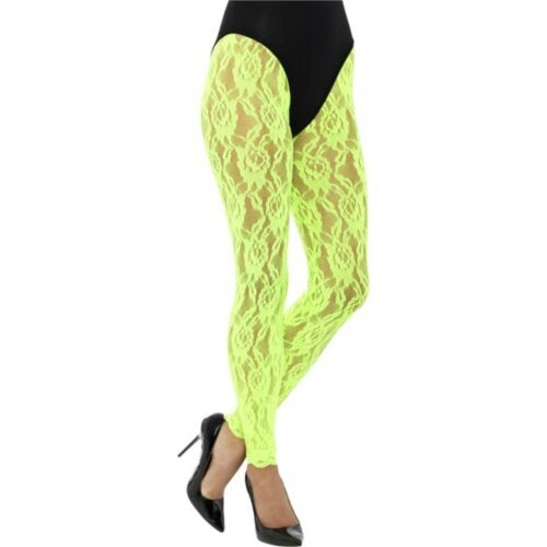 80s Lace Leggings Neon Ladies 19 Adults Disco Fancy Dress Accessory Diva