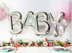 Image Is Loading Silver Baby Letters Kit Foil Supershape Balloons Baby
