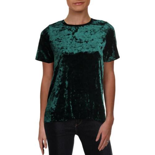 Aqua Womens Velvet Metallic Short Sleeves T-Shirt Top BHFO 4588