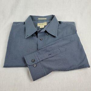 Eddie-Bauer-Mens-Size-XXL-Blue-Plaid-Button-Shirt-Long-Sleeve-Wrinkle-Resistant