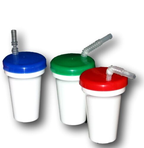 USA Durable Green Lids /& Flex Straws Mfg Red 3  Sippy Cup  White with Blue