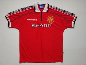 Vintage Umbro Manchester United Embroidered Treble 98 99 Jersey Mens Xl Ebay