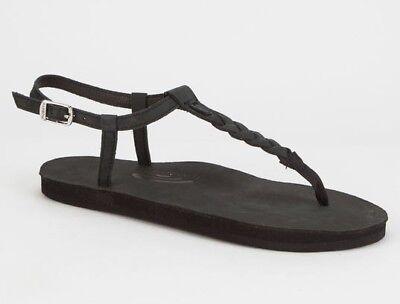 9.5 Leather Sandals Black PBLK New $60 Rainbow T-Street Premier Womens XL 8.5