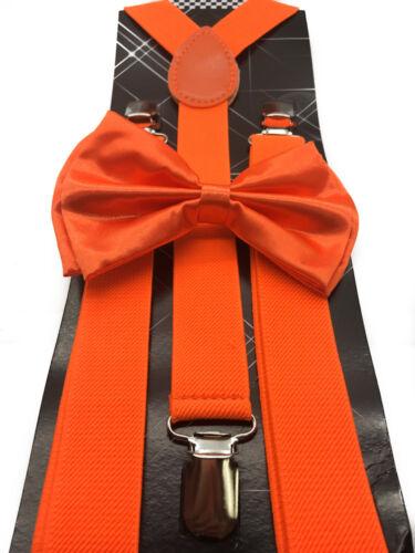 Neon Orange Bow Tie /& Suspender Set Tuxedo Wedding Formal Men/'s Accessories New