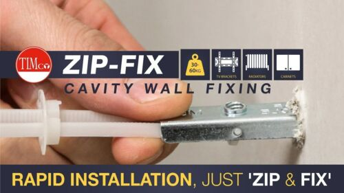 Timco Zip-Fix Spring Toggles Plasterboard Cavity Fixing For TV Bracket Pack of 5
