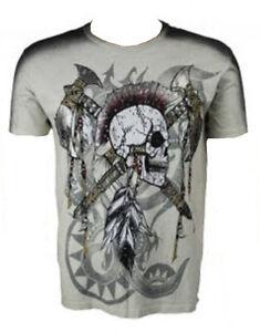 1bab61e92 KONQUEST PLATINUM Men's Mohawk Skull with Axes Print T-Shirt Ecru ...