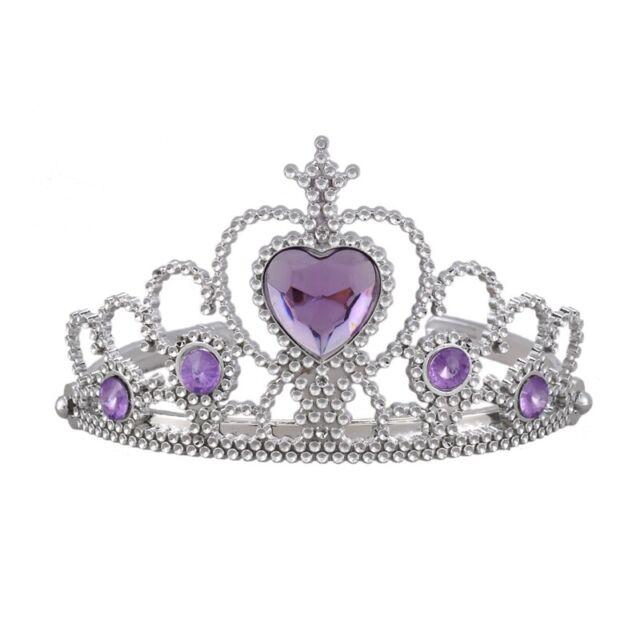 1X(Woman Wedding Faux Rhinestone Tiara Crown Headband Silver Tone Purple R1X2)