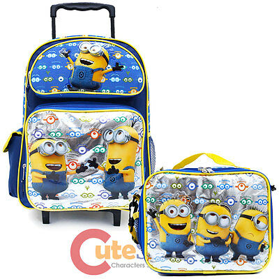 """Despicable Me 16/"""" Large School Backpack Lunch Bag 2pc Set Minion Face 2 Eye"""