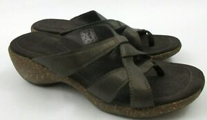 MERRELL-Womens-US-Size-6-Alyssum-Brown-Leather-Wedge-Sandals-Thongs-Shoes