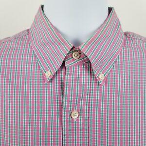 Ralph-Lauren-Custom-Fit-Pink-Green-Check-Men-039-s-L-S-Dress-Button-Shirt-Sz-15-5-M